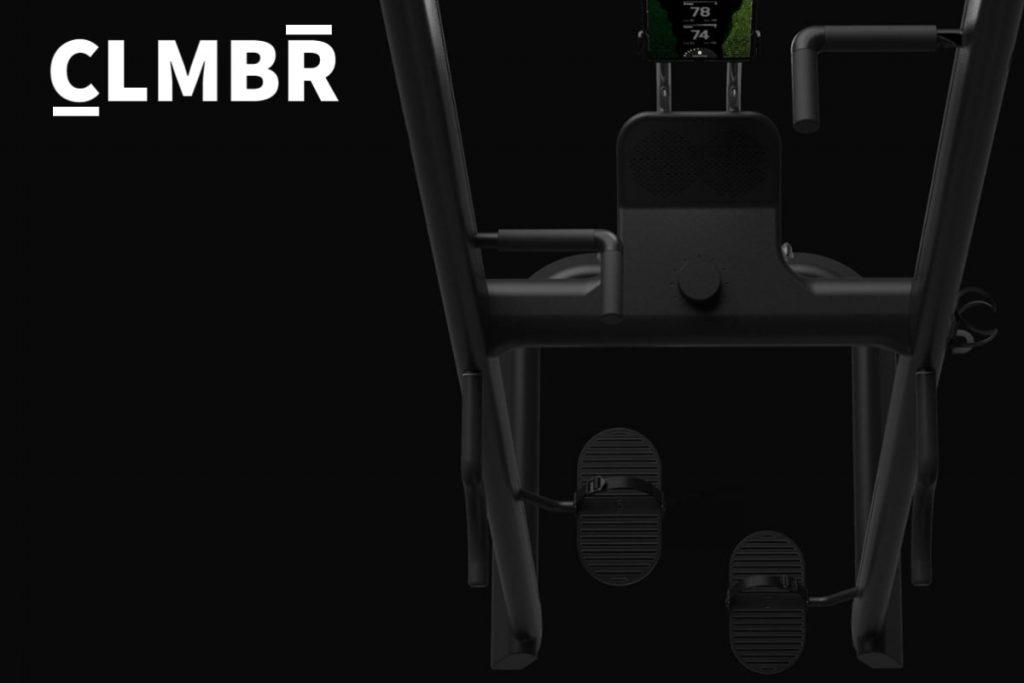 CLMBR brand logo and vertical climber with screen