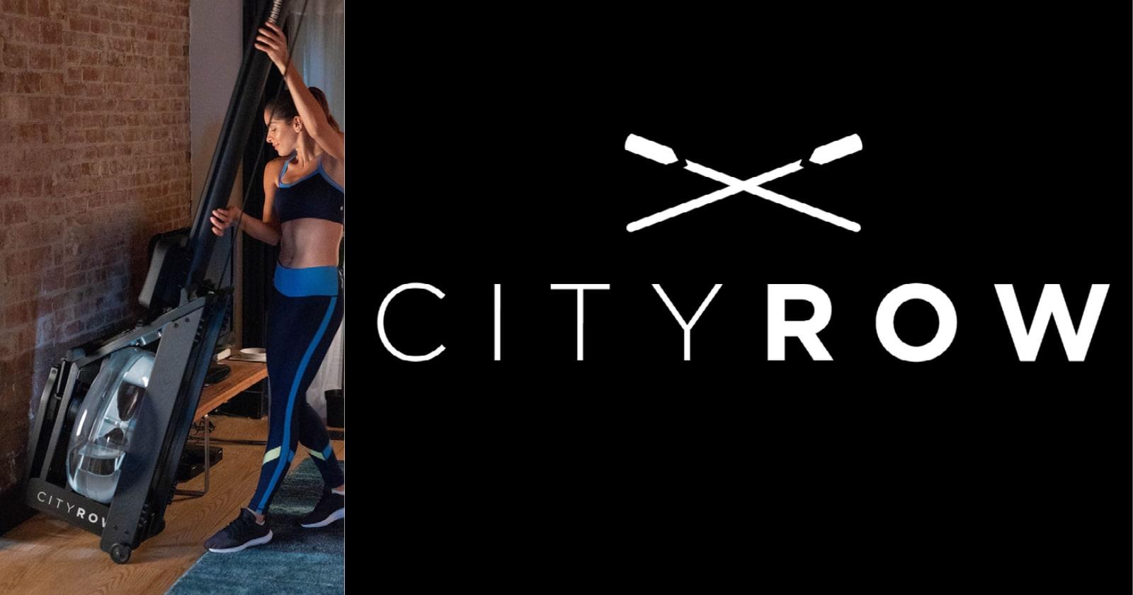 woman wheeling cityrow go rower and brand logo