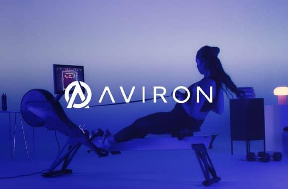 aviron brand logo and woman rowing